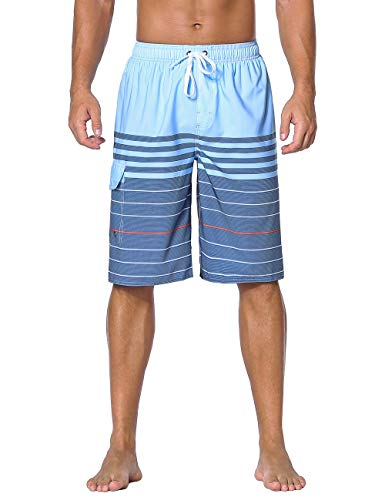 Nonwe Men's Beach Shorts Striped Summer Holiday Surf Quick Dry Swim Trunks Blue 34