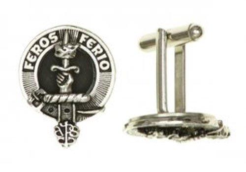 Art Pewter Paire de boutons de manchette, avec National (Écosse et Irlande) Crest. Disponible en 7 Clans par bouton, étain, 2 cm