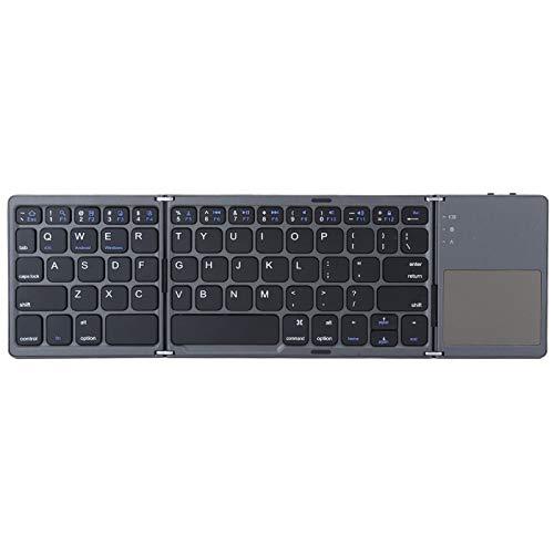 Teclado sem fio dobrável leve portátil preto, teclado dobrável de carregamento USB, para casa, viagens de escritório, viagem de negócios