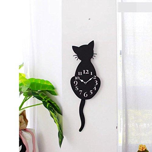 Gusspower Orologio creativo da parete a forma di gatto, per la cameretta dei bambini, impermeabile, in acrilico, con coda mobile, acrilico, Nero B