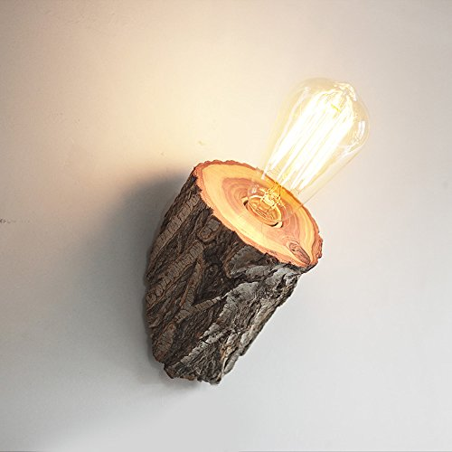 Wvfguj wandlampen Lamp van de muur creatieve handgemaakte gesneden Nature Houten Muur Light Nordic Modern Slaapkamer Nachtlampjes Theme Hotel armatuur E27 Edison High Brightness Sconce Lengte: 4.7-5.9