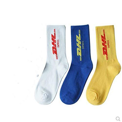 XMYNB Socke 3 Pares/Fashion White Men Cotton Socken Frauen Street Crew Socken Hip Hop Brief Calabasas Socken Brief Skateboard-Socken,03.05 Pair,39-43