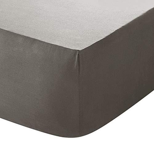 Spannbetttuch, Fadenzahl 200, extra tief, 100 % ägyptische Baumwolle, Luxus-Perkal, Grau, Einzelbett