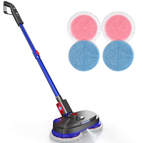 iDOO Cordless Electric Spin Mop, Spray Mop for Floor Cleaning with 265R/min Speed, Polisher with Built-in 300ml Water Tank for Hardwood & Tile & Marble & Laminate Floors, Scrubber with LED Headlight