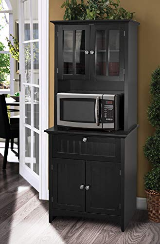 OS Home and Office Framed Glass Doors and Drawer in Black kitchen buffet with hutch