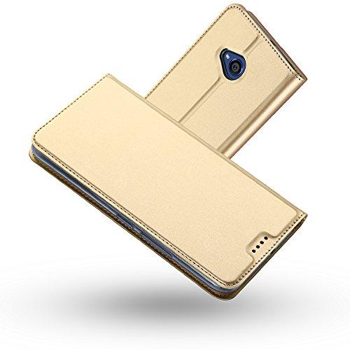 Radoo HTC U11 Life Hülle, Premium PU Leder Handyhülle Brieftasche-Stil Magnetisch Folio Flip Klapphülle Etui Brieftasche Hülle [Karte Halterung] Schutzhülle Tasche Hülle Cover für HTC U11 Life (Gold)