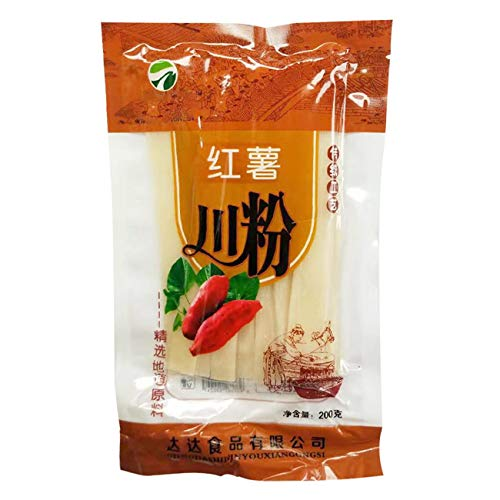 Wide Glass Noodle, Sweet Potato Noodles, 100% Sweet Potato Starch Crystal Vermicelli, Gluten-free and No Additive (7.06oz/200g)