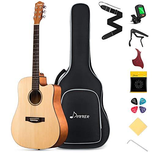 Donner Guitarra Acústica con Cutaway 41 Pulgadas Guitarra 4/4 para Adultos Principiantes Guitarra Kit con Afindar Cuerdas Capo Natural