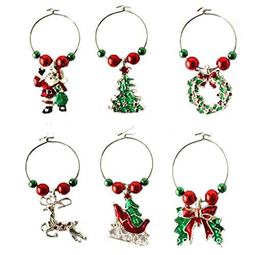 SJHFG 6 abalorios de cristal de Navidad, diseño de dibujos animados, marcadores de copa de vino, etiquetas de bebidas de metal, regalos de fiesta, regalo para niños