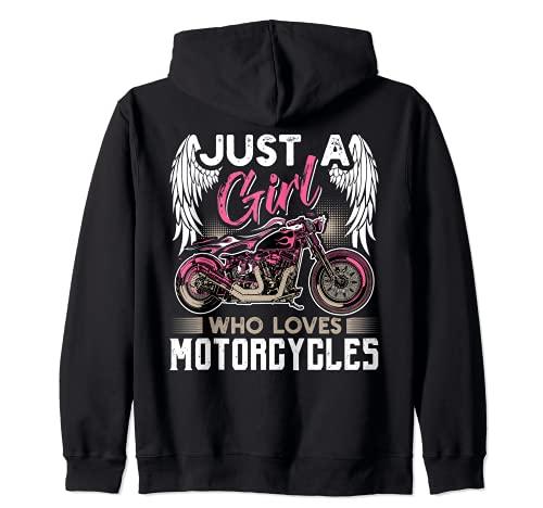 Just A Girl Who Loves Motorcycles - Regalo divertido para motorista Sudadera con Capucha