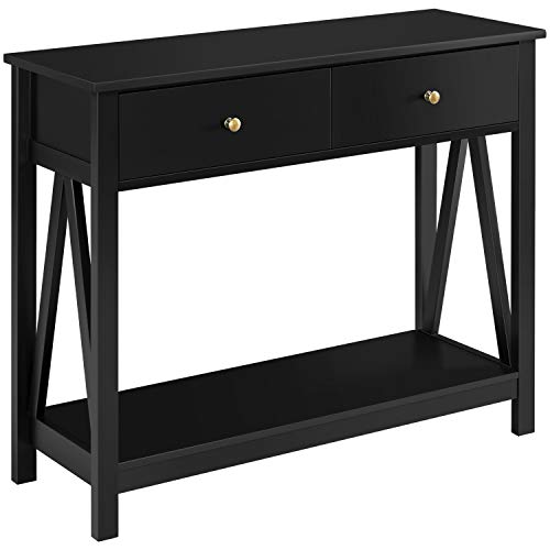Yaheetech 2 Tier Console Sofa Table with 2 Drawers and Storage Shelf, Small Space Narrow Long Table...