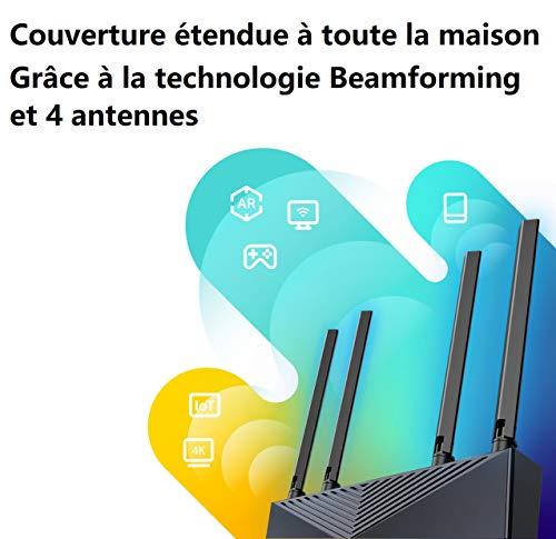 TP-Link Routeur WiFi 6 Archer AX10, Routeur WiFi bi-bande 1500 Mbps, 4 ports LAN gigabits, 1 port WAN Gigabit, 4 Antennes à haute performance, Contrôle parental, Configuration facile