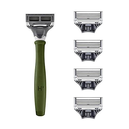 Harry's Razors for Men - Men's Razor Set with 5 Razor Blade Refills, Travel Blade Cover, 2 oz Shave Gel (Forest Green)
