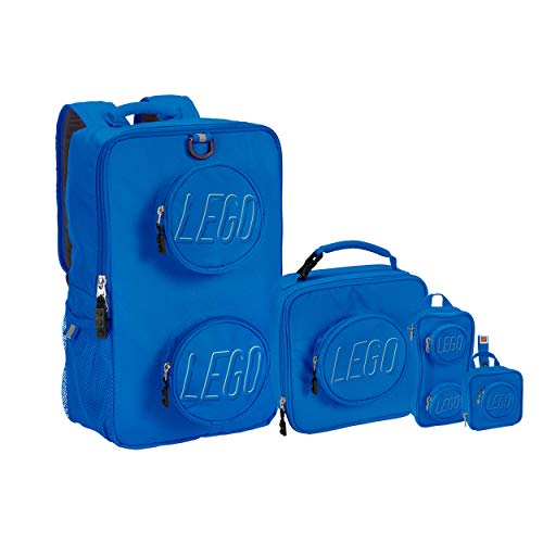 LEGO Kids Brick Backpack, Lunch, Mini Backpack & Pouch 4 Piece Set-Blue, One Size