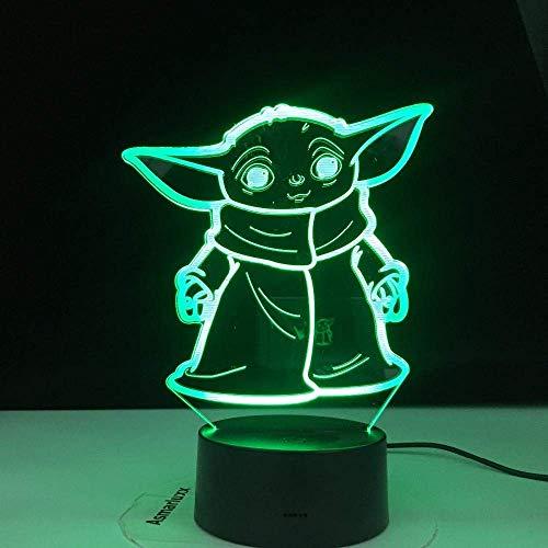 Lámpara De Ilusión 3D Luz De Noche Led Star Wars Baby Yoda Meme Para Niños Decoración De Habitación Infantil Lámpara De Mesa Baby Mini Yoda Los Mejores Regalos De Vacaciones De Cumpleaños Para Niñ