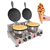 ALDKitchen Waffle Cone Maker | Commercial Waffle Roll Maker | Stainless Steel | Teflon Coating | Manual Control | 110V (Double)
