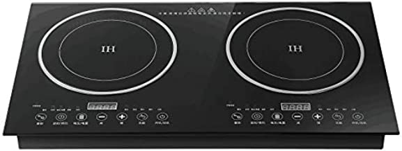 Digital Induction Cooktop,2600W 110V Double Burners Electric Stove, Countertop Burner with Legs, Induction Cooker Vitro Ceramic Glass Black Surface for Cast Iron Pan (1200W+1400W)