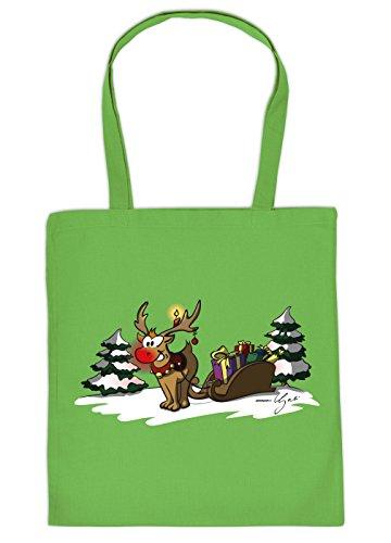 Geschenktasche Weihnachten Baumwolltasche Rentier Schlitten : hellgrün Rudolph The rednosed Reindeer_Tasche_16_YG03904 - Weihnachtstasche mit Urkunde Farbe: hellgrün