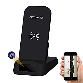 Hidden Camera WiFi Spy Camera- Wireless Phone Charger 1080P HD Indoor Security Cam with Motion Detection Alert 7/24 Remotely Watch Live Streaming for Pet/Nanny/Baby/Employee Monitoring - by Kaposev