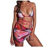 VODMXYGG Traje de baño de Tres Piezas de Color sólido Impreso con Espalda Abierta y Corbata Dividida Mujer Brasileños Bikinis 0916334