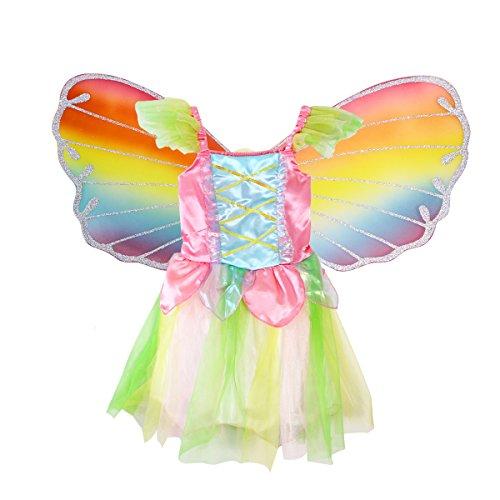 Luoem - Disfraz de hada para niña, diseño de mariposa, alas de hada y vestido de princesa...