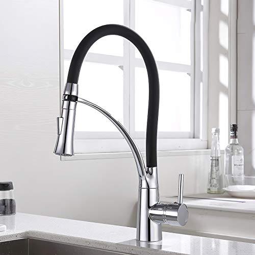 GAVAER rubinetto da cucina, miscelatore da cucina con tubo flessibile con 2 modalità, miscelatore da cucina girevole a 360 ° con acqua calda fredda in silicone nero, ottone massiccio, finitura cromata