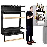 Ikkle Refrigerator Spice Storage Shelf - Magnetic Fridge Spice Rack Organizer Paper Towel Holder, Large Weight Capacity Rustproof Spice Rack, Strong Magnetic Shelf with 4 Hooks, 19.4 x14.5 x12.7 INCH
