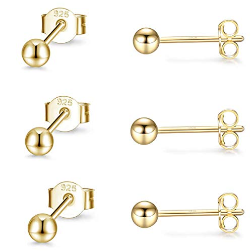 Gulicx 3 Pairs 3mm Silver 14K Gold Stud Earrings Set for Women Girls, Hypoallergenic 925 Stering Silver Tiny Round Ball Stud Earrings,Small Sleeper Cartilage Bead Studs Earrings
