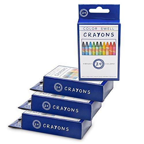 Color Swell Crayons Bulk 4 Packs of 24 Count Vibrant Colors Teacher Quality Durable for Families Class Party Favors