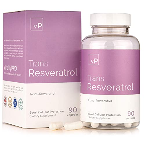 Trans Resveratrol (500mg) x 90 Capsules | Third Party Tested Over 99% Purity | High Strength Resveratrol Supplement | Vitality Pro