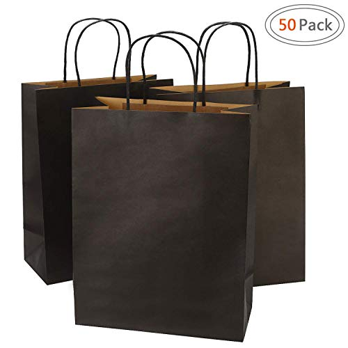 Road 10x5x13 Inches 50pcs Kraft Paper Bags with Handle, Gift, Shopping Bag, Merchandise, Party Bag (Black)