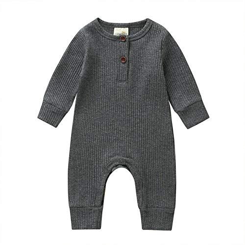 Baby Jungen Mädchen Kleidung Strick Strampler Jumpsuit Bodysuit Einteiler Pyjama Ribbed Outfit Kleidung Gr. 56, grau