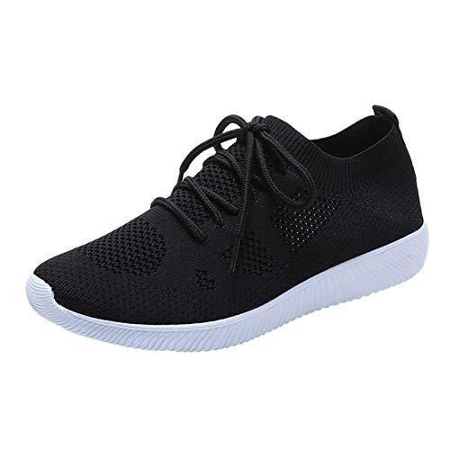 Damen Modischer Freizeitschuh Sneaker Mesh Schnürhalbschuhe Schnürschuhe Leichte Modische Turnschuhe Freizeit Atmungsaktiv(1-Schwarz/Black,41)