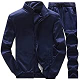 Men's Casual Tracksuit Long Sleeve Full-Zip Running Jogging Sports Jacket and Pants (TZ48-Blue, Small)