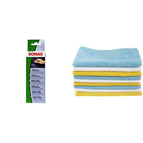 SONAX 416741 Textil-& Lederbürste & AmazonBasics Mikrofaser-Reinigungstücher, 24 Stück