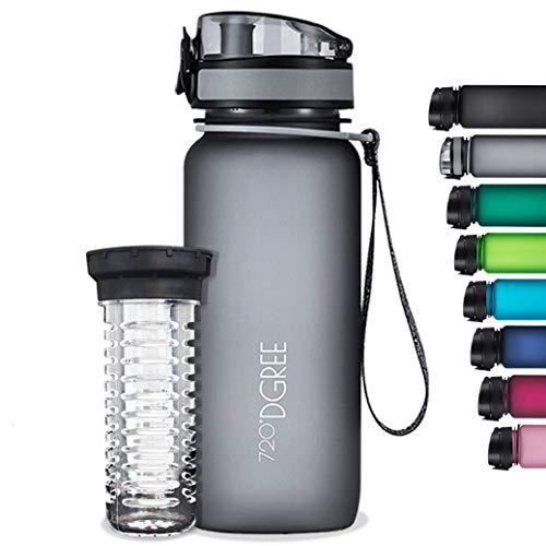 """720°DGREE Trinkflasche """"uberBottle"""" softTouch +Früchtebehälter - 1L - BPA-Frei - Wasserflasche für Uni, Sport, Fitness, Fahrrad, Outdoor - Sportflasche aus Tritan - Leicht, Bruchsicher, Nachhaltig"""