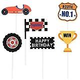 24 Piezas Cupcake Toppers para Decoracion Tarta Cumpleaños Topper para Tartas Patrón de Serie de Cochecon Autos Ruedas Trofeos Formas para Fiesta Temática (6 Estilos)