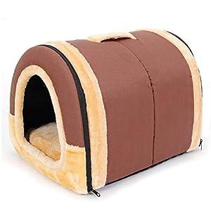 Pawz Road niche en peluche pour chien et chat maison pliable avec coussin amovible et chaud du chien lit doux pour chat canapé lavable pour chiot chenil 2 en 1 brun