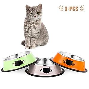 You&Lemon 3 Piezas de Cuencos Multicolor para Gatos de Acero Inoxidable para Mascotas Tazón Antideslizante de Comida para Mascotas 7