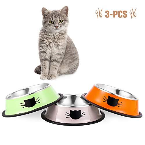 You&Lemon 3 Piezas de Cuencos Multicolor para Gatos de Acero Inoxidable para Mascotas Tazón Antideslizante de Comida para Mascotas