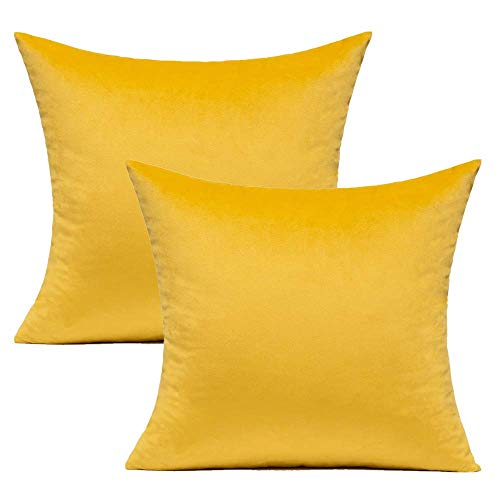 Yellow Couch Cushion Covers Velvet Spring Decorative Square Pillow covers Sofa Soft Solid Cozy Cushion Cases Home Decor for Bedroom Car 18x18 Inch Set of 2