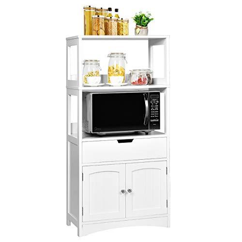 COSTWAY Aufbewahrungsschrank mit Schublade, Unterschrank mit 2 offenen Regalen und Türschrank, Badschank freistehend, Badkommode weiß