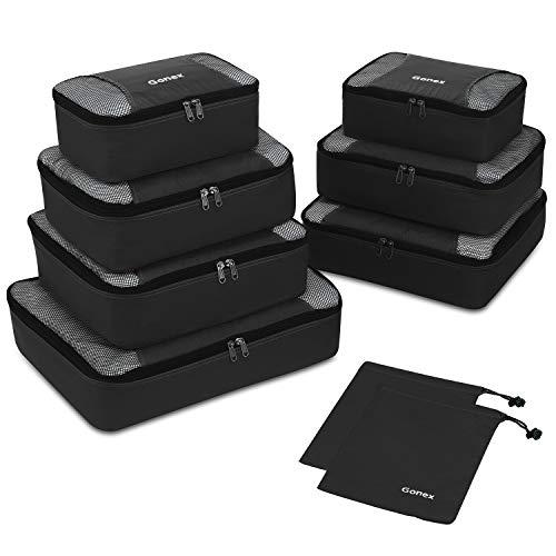 Packing Cubes 9-teilig, 2 zusätzliche Beutel, kleine, mittelgroße, große und 1 größere Kleidertasche, schwarz