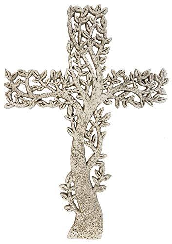 DeLeon Collections Tree of Life Wall Cross - Rustic Stone Look Decorative Spiritual Art Sculpture