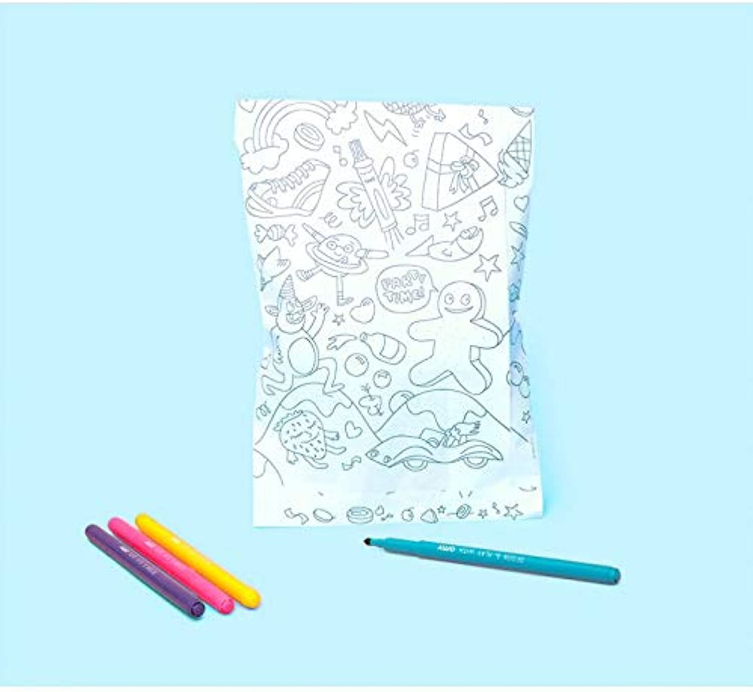 OMY Pack of 8 Party Favour Bags for Colouring Up Birthdays