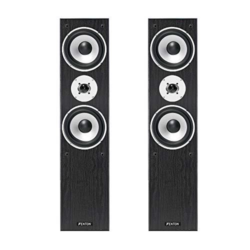 Pair of Black Fenton 3-way Home Audio Tower Speakers Bass Hi-Fi Stereo 350 Watt