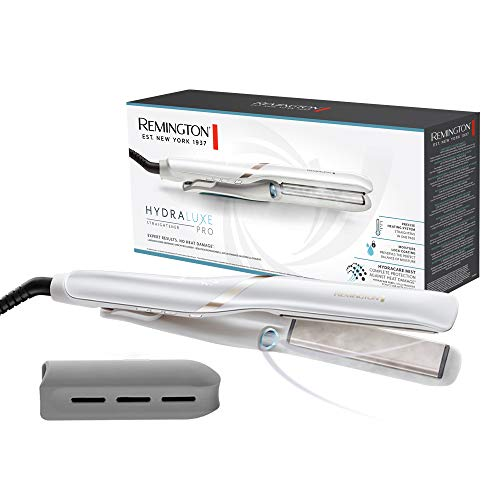 Remington Hydraluxe Pro S9001 - Plancha de Pelo, Tecnología Hydracare, Cerámica, Resultados Profesionales, Blanco