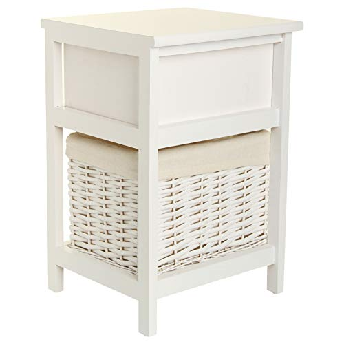 Youyijia Bedside Table 27.5X31X45CM Drawers Cabinet Night Stand with Wicker Storage Basket For Bedroom Children'S Bedroom White(1PC)