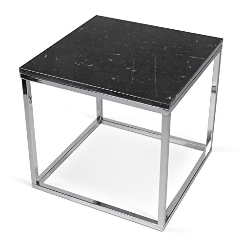 Paris Prix - Temahome - Table D'appoint 50cm Prairie Marbre Noir & Métal Chromé
