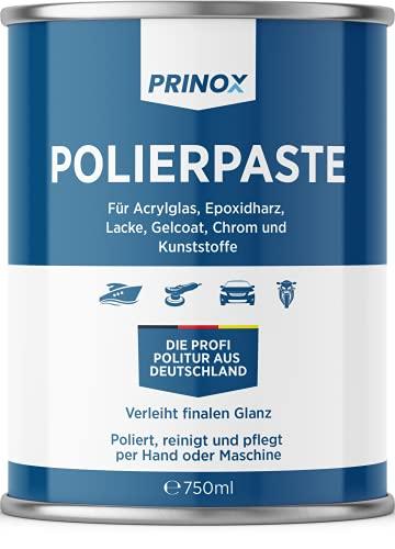 Prinox® Pasta lucidante da 750 ml, per vetro acrilico, resina epossidica, vernici, smalto gel gfk, cromo e plastica, rimuove opacizzazione e graffi